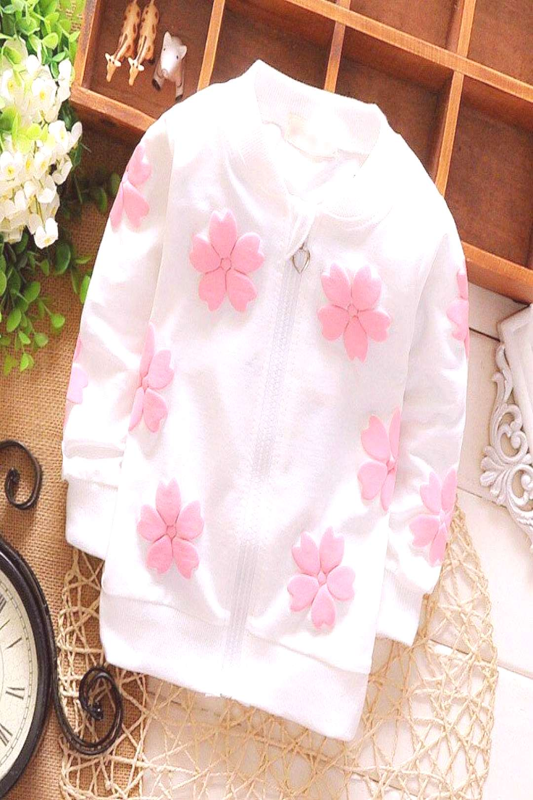 2016 new fashion baby girls coats floral cotton girls cardigan kids outerwear children clothing fac