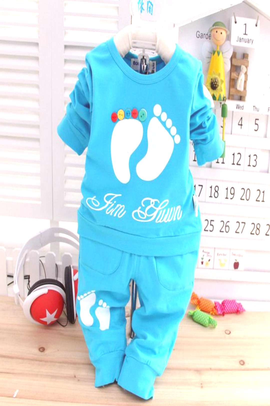 2017 New Spring baby girls boys Candy color clothes set, T-shirt +pants infant long sleeve chldren