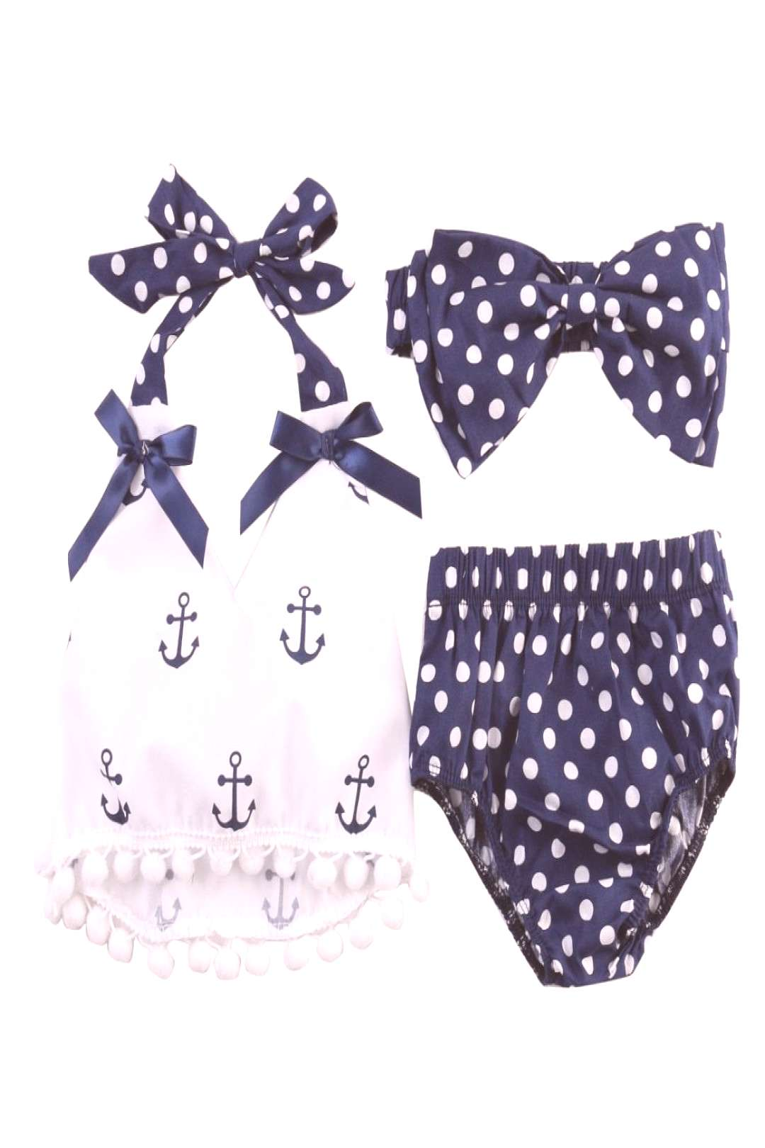 2017 Summer Baby Girls Rompers Clothes Sets Anchors Bow Top + Polka Dot Briefs + Head band 3pcs Sle