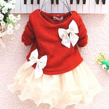 2016 Hot Baby Girls Autumn Spring Long Sleeve Knitted With Bow Infants Newborn Pink Tutu Princess D
