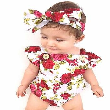 2017 Hot Sale Newborn Baby Girls Clothes Flower Jumpsuit Romper + Headband Outfits - Buy it Now!