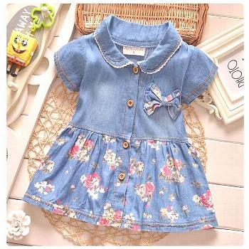 2017 Summer Baby Girl Jeans Dress Cute Bow Floral Toddler Children's Dresses Fashion Newborn Baby K