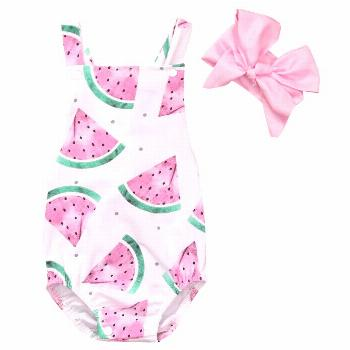 2017 Summer Baby Girls Clothes Sleeveless Watermelon Infant Bebes Romper Backless Halter Jumpsuit +