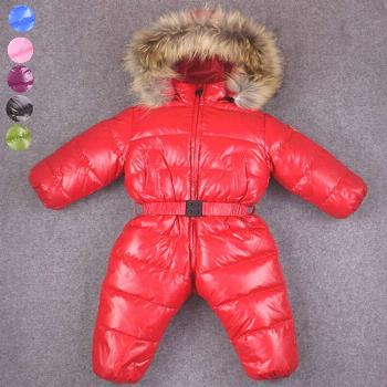 -30 baby girl jumpsuits Russia winter baby clothing , brand coats snow wear down jacket ,snowsuits