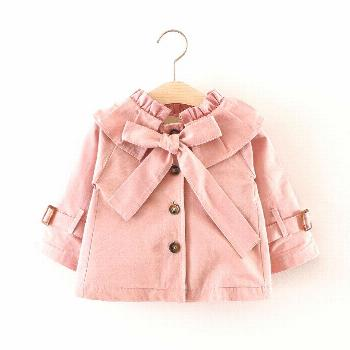 Autumn Baby Girls Solid Long Sleeve Lapel Collar Princess Bow Jacket Coat Children Kids Outerwear T
