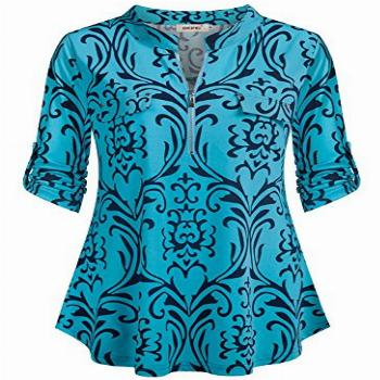 BEPEI Floral Tops for Women,Three Quarter Long Sleeves with