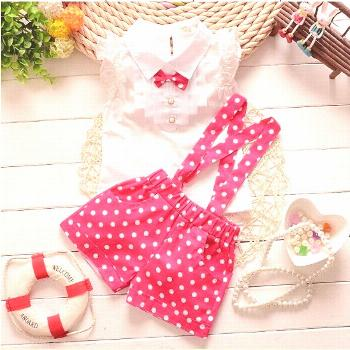 BibiCola summer baby girls newyear Christmas outfit clothing sets chiffon plaid t-shirt+ overalls p