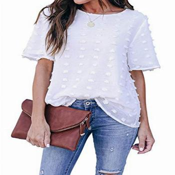 Blooming Jelly Womens Chiffon Blouse Summer Casual Round