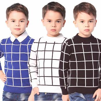 Blue Casual Plaid Toddler Boys Sweaters Pullover White Cotton Crochet Clothing For Children's Black