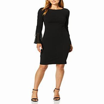 Calvin Klein Women's Solid Sheath with Chiffon Bell Sleeves