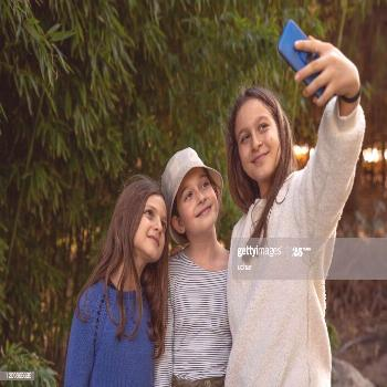 Childhood Time Three Little Girls Making A Selfie With Mobile Phone Photography ,