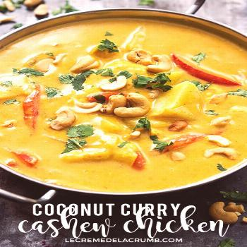 Coconut Curry Cashew Chicken Saucy Slow Cooker Coconut Curry Cashew Chicken with sweet red peppers,