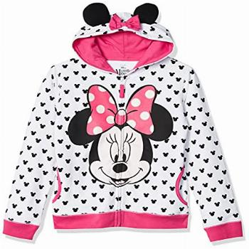 Disney Toddler Girls' Minnie Hoodie with Bow and Ear, White,