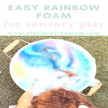 DIY Rainbow Foam for Sensory Play - Play Inspired Mum Sensory fun activity for toddlers that is eas