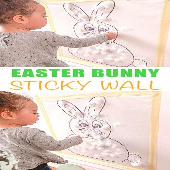 Easter Bunny Sticky Wall - HAPPY TODDLER PLAYTIME