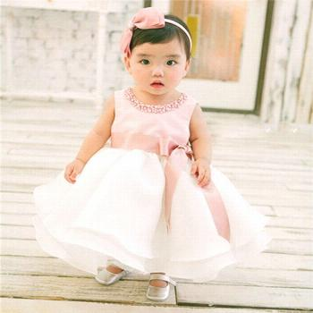 Fashion Summer Style Baby Girl Wedding Dress Toddler Kids Girl Dresses Sleeveless Elegant Christeni