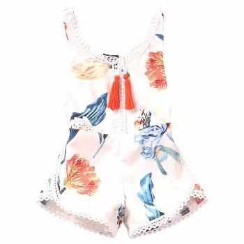 Floral Newborn Baby Girl Kids Sleeveless Flower Romper Jumpsuit Backless Cotton Sunsuit Outfits - B
