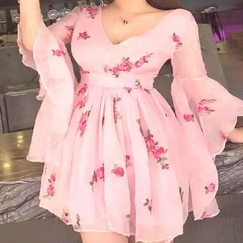 Floral Print Flared Sleeve Pleated Chiffon Dress Our Email Address: MeetBeauty@ How to Order: How t