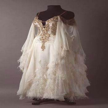 French vanilla chiffon standard with gold lace and wispy feathers -