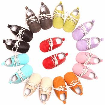 Hongteya Lace-up PU leather Baby Moccasins Shoes Newborn toddler Anti-slip shoes first walkers baby