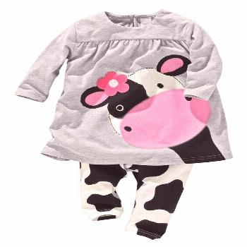 hot sale baby girl clothes baby girls two pieces set cotton cartoon cow girls full sleeved+ pants c