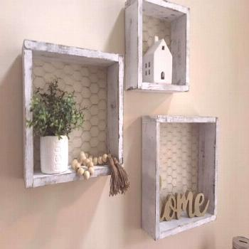 I just love these chicken wire box shelves!