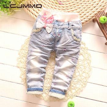 LCJMMO 2017 New Arrival Butterfly Knotted Baby Girl jeans Children Casual Long Pants Kid Girls Deni