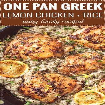 Marinated Greek lemon chicken thighs are seared then baked on top of a lemon and herb flavored rice