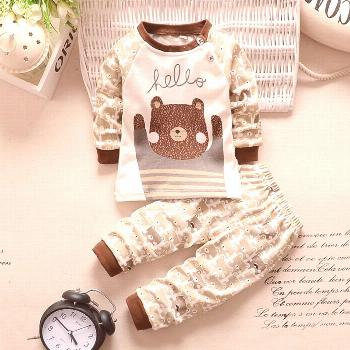 New 2016 baby boy clothes cotton baby girl clothing sets cartoon long-sleeved t-shirt+pants infant