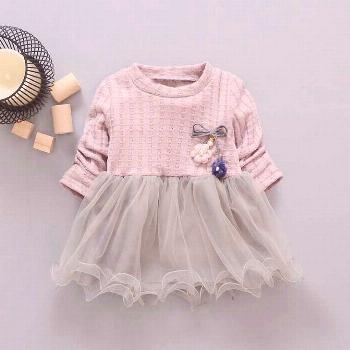 new spring Autumn Casual baby princess Long Sleeve Kids Sweet Knit top mesh patchwork infant Childr