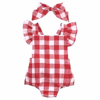 Newborn Infant Kids Baby Girl Red Plaid Romper Jumpsuit With Headband Outfit Clothes 0-18M AU - Buy