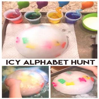 News with Naylors: Letter Q Activities (ages 3 & 23 months) Icy Alphabet Hunt. Really fun letter re