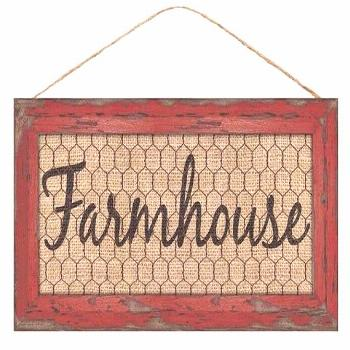 Red and Natural Farmhouse with chicken wire wreath sign, wreath decor, wreath supplies, 12.5