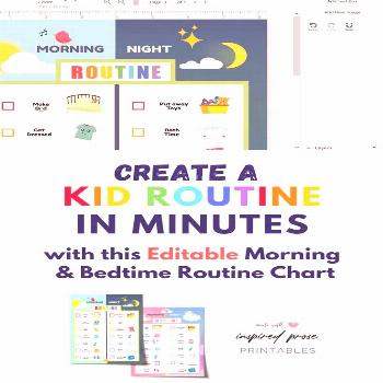 Routine Chore Chart for Morning and Bedtime - Instant Download - Printable - Kids can keep track of