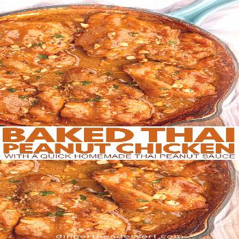 Savory, delicious skinless chicken thighs baked in a quick homemade Thai peanut sauce that's ready
