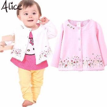 Spring 2016 Children's Clothing female Baby Girls long-sleeved cardigan jacket coat embroidered pin