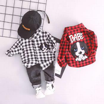 Spring Baby Lapel Plaid Shirt Jeans Cartoon Kids Children Costume Price: 1387.48 & FREE Shipping