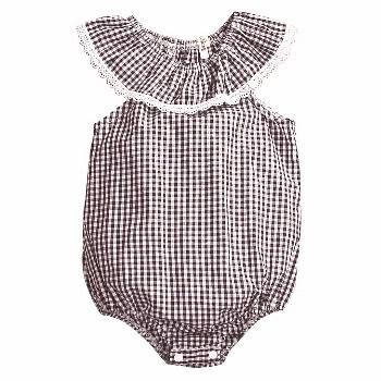 Summer 2017 Infant Baby Girl Lace Plaids Sleeveless Lace Side Romper Jumpsuit Outfits Sunsuit Cloth