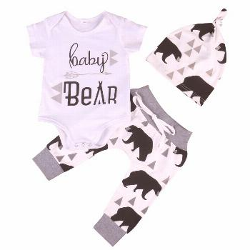 Summer 2017 Newborn Baby Boys Girls Kids Clothes Romper T-shirt Tops +Long Pants+Hat Outfits Sets -