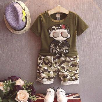 Summer Children Clothing Boys Clothes Set Kids Sports Suits For Boy 2pcs Short Sleeves T-Shirt Todd