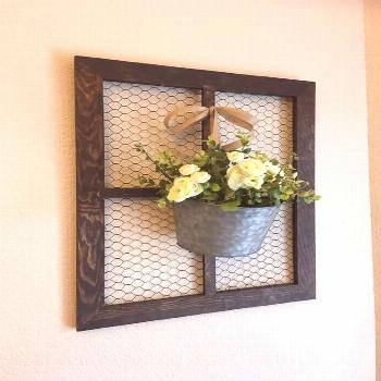 This is a medium sized chicken wire window frame. This will add the perfect touch to your farmhouse