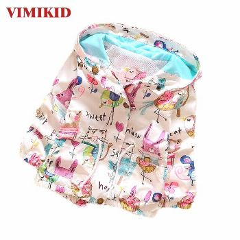 VIMIKID SpringAutumn 2017 New Cotton Baby Girls Cardigan Coat Spend Three Flowers Lollipops Dot Jac