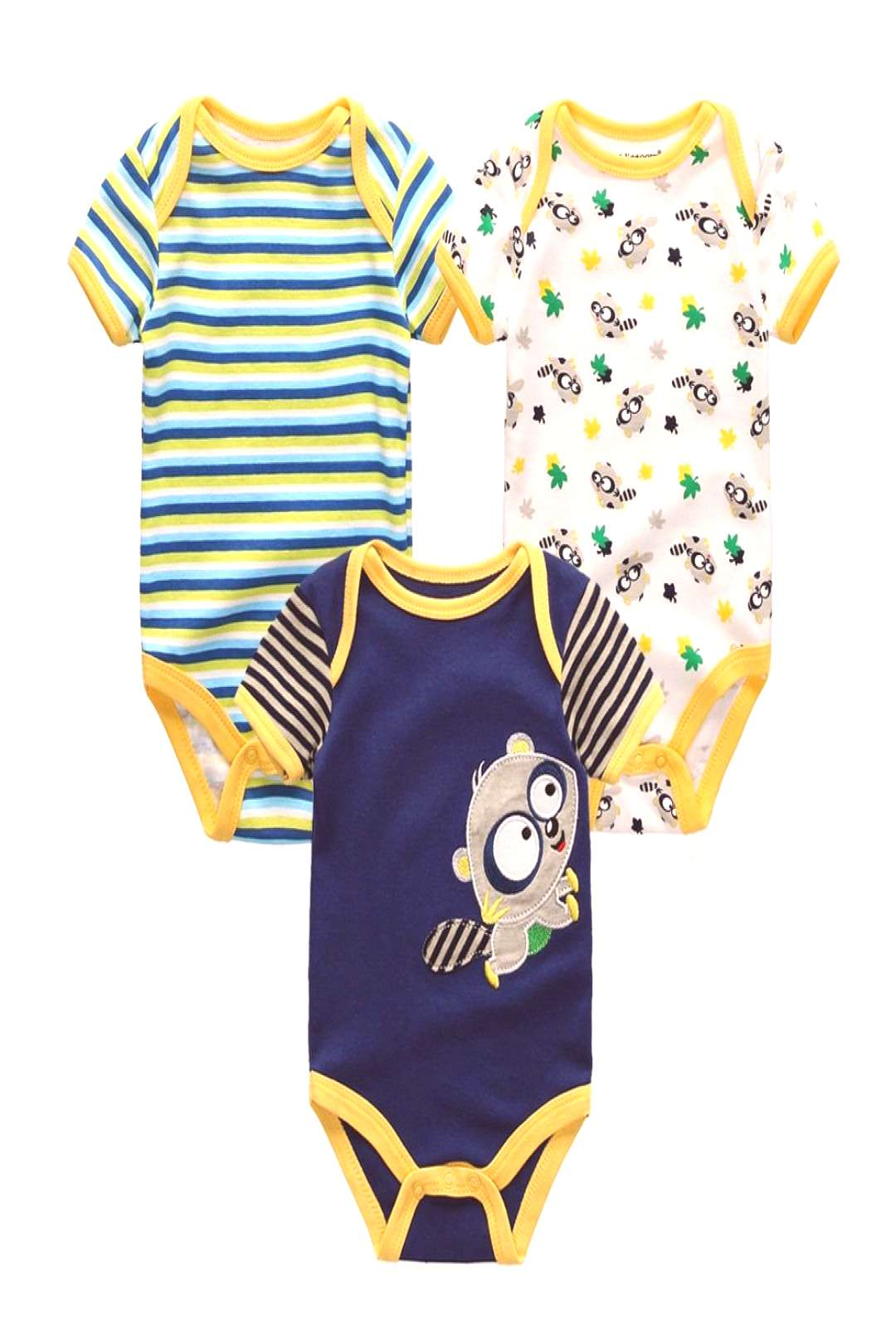 3PCS Newborn Baby Rompers Unisex Infant Clothes Cotton Short Sleeves Baby Boy Girl Clothing Cute Ca