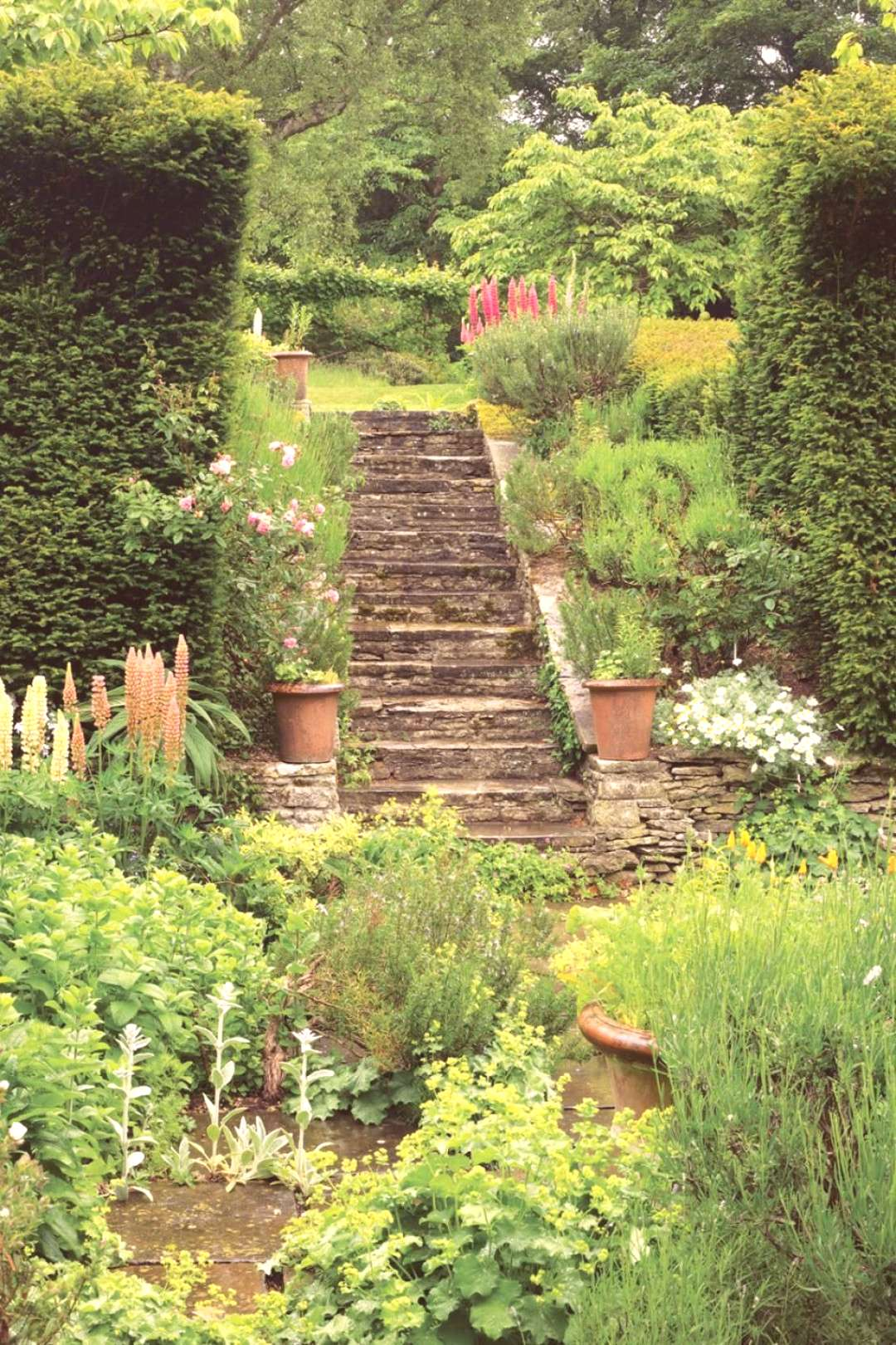 A stone staircase at Asthall Manor, in the Cotswolds. The childhood home of writ..., A stone stair