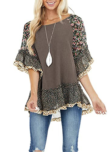 Allimy Womens Spring Short Sleeve Chiffon Floral Tops