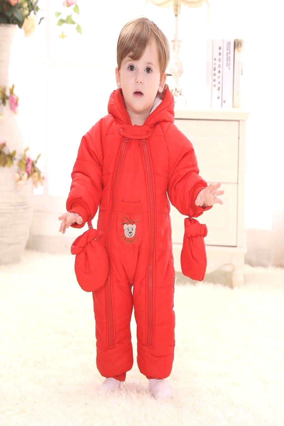 Baby rompers snow wear Christmas gift for baby clothes Winter thermal cotton outwear baby one piece