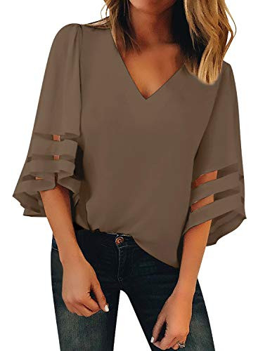BLENCOT Womens Casual 3 4 Sleeve Bell Sleeve Lace Patchwork