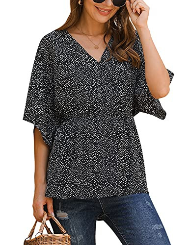 Blooming Jelly Womens Summer Peplum Tops Flowy Batwing V