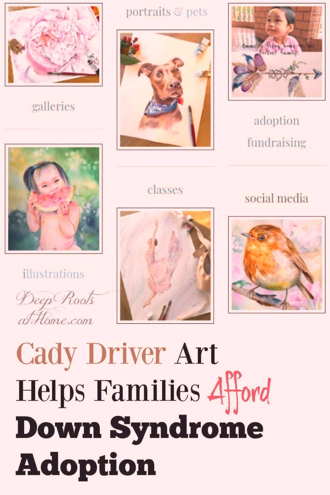 Cady Driver Art Helps Families Afford Down Syndrome Adoption. | watercolor childrens portraits | wa