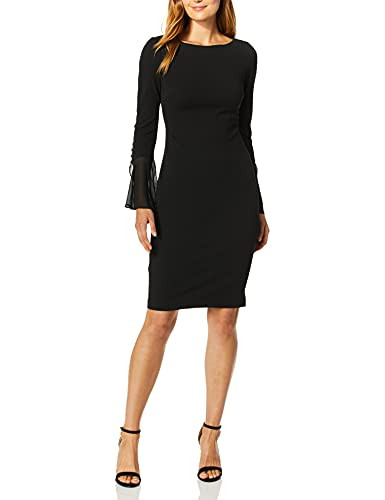 Calvin Klein Womens Solid Sheath with Chiffon Bell Sleeves